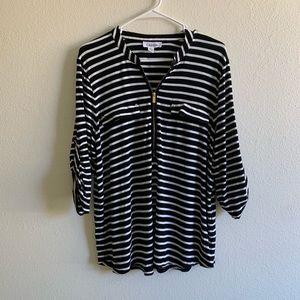 Calvin Klein • striped front zip top
